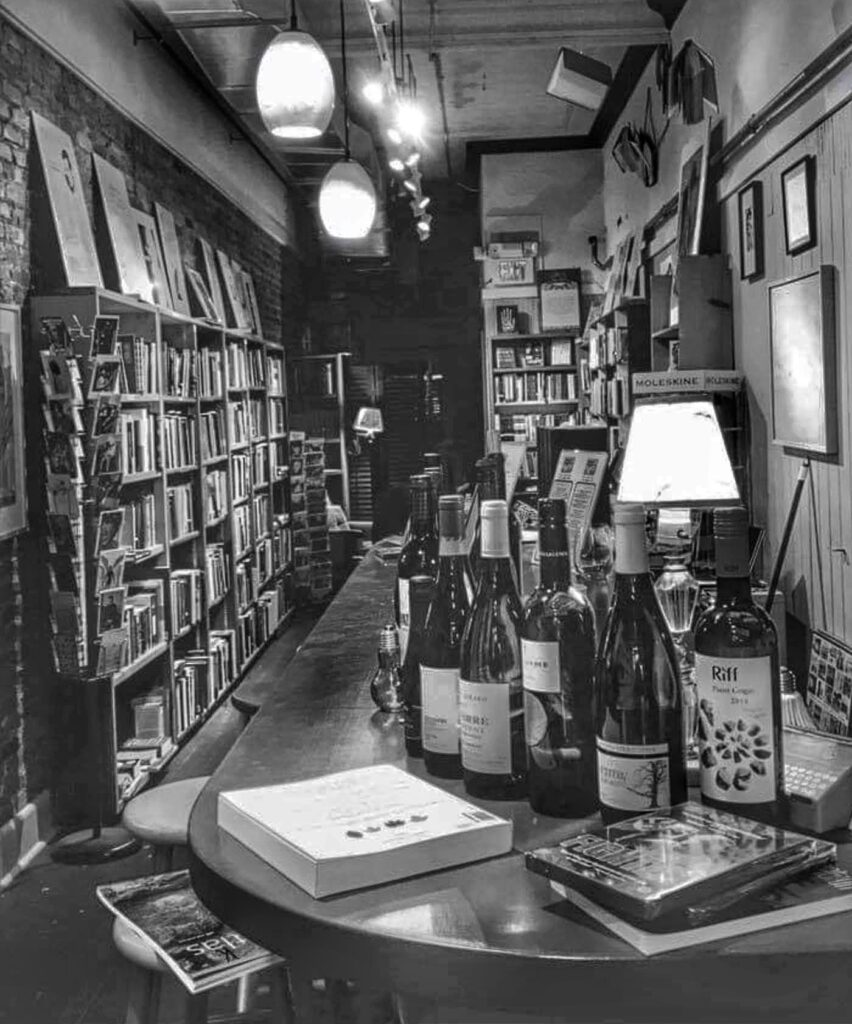 Get Lit Wine Bat at the Bookstore black and white